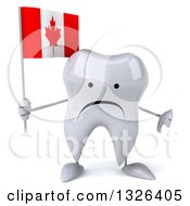 Clipart Of A 3d Unhappy Tooth Character Holding A Canadian Flag And Giving A Thumb Down Royalty Free Illustration