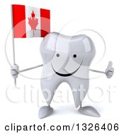 Clipart Of A 3d Happy Tooth Character Holding A Canadian Flag And Giving A Thumb Up Royalty Free Illustration