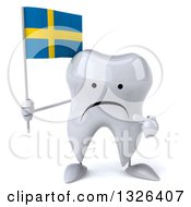 Clipart Of A 3d Unhappy Tooth Character Holding And Pointing To A Swedish Flag Royalty Free Illustration