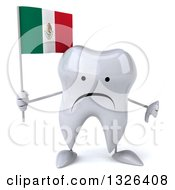 Clipart Of A 3d Unhappy Tooth Character Giving A Thumb Down And Holding A Mexican Flag Royalty Free Illustration