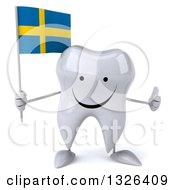 Clipart Of A 3d Happy Tooth Character Holding A Swedish Flag And Giving A Thumb Up Royalty Free Illustration