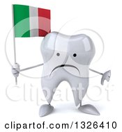 Clipart Of A 3d Unhappy Tooth Character Giving A Thumb Down And Holding An Italian Flag Royalty Free Illustration