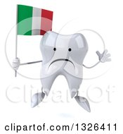 Clipart Of A 3d Unhappy Tooth Character Jumping And Holding An Italian Flag Royalty Free Illustration