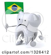Clipart Of A 3d Unhappy Tooth Character Walking To The Left And Holding A Brazilian Flag Royalty Free Illustration