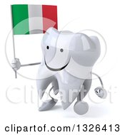 Clipart Of A 3d Happy Tooth Character Walking To The Left And Holding An Italian Flag Royalty Free Illustration