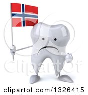 Clipart Of A 3d Unhappy Tooth Character Holding And Pointing To A Norwegian Flag Royalty Free Illustration