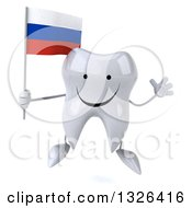 Clipart Of A 3d Happy Tooth Character Holding A Russian Flag And Jumping Royalty Free Illustration