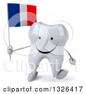 Clipart Of A 3d Happy Tooth Character Holding A French Flag And Walking Royalty Free Illustration