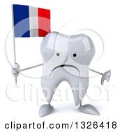 Clipart Of A 3d Unhappy Tooth Character Holding A French Flag And Giving A Thumb Down Royalty Free Illustration