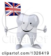 Clipart Of A 3d Happy Tooth Character Holding A British Flag And Giving A Thumb Up Royalty Free Illustration