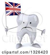 Clipart Of A 3d Unhappy Tooth Character Holding A British Flag And Giving A Thumb Down Royalty Free Illustration