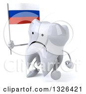 Clipart Of A 3d Unhappy Tooth Character Holding A Russian Flag And Walking To The Left Royalty Free Illustration