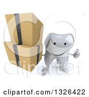 Clipart Of A 3d Happy Tooth Character Holding Up Boxes And A Thumb Royalty Free Illustration