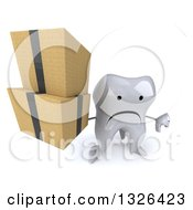 Clipart Of A 3d Unhappy Tooth Character Holding Up Boxes And A Thumb Down Royalty Free Illustration