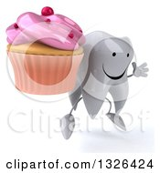 Clipart Of A 3d Happy Tooth Character Facing Right Jumping And Holding A Pink Frosted Cupcake Royalty Free Illustration