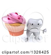 Clipart Of A 3d Unhappy Tooth Character Holding Up A Thumb Down And A Pink Frosted Cupcake Royalty Free Illustration