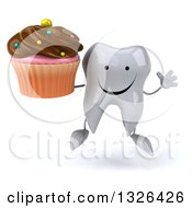 Clipart Of A 3d Happy Tooth Character Jumping And Holding A Chocolate Frosted Cupcake Royalty Free Illustration