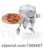 Clipart Of A 3d Happy Tooth Character Facing Slightly Right Jumping And Holding A Pizza Royalty Free Illustration