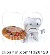 Clipart Of A 3d Unhappy Tooth Character Holding Up A Thumb Down And A Pizza Royalty Free Illustration