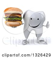 Clipart Of A 3d Happy Tooth Character Giving A Thumb Up And Holding A Double Cheeseburger Royalty Free Illustration