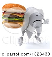 Clipart Of A 3d Unhappy Tooth Character Facing Right Jumping And Holding A Double Cheeseburger Royalty Free Illustration
