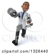 Clipart Of A 3d Young Black Male Physical Therapist Doctor Walking And Doing Bicep Curls With Dumbbells Royalty Free Illustration