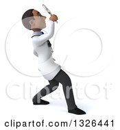 Clipart Of A 3d Young Black Male Doctor Facing Right Looking Up And Searching With A Magnifying Glass Royalty Free Illustration