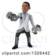 Clipart Of A 3d Young Black Male Physical Therapist Doctor Doing Bicep Curls With Dumbbells Royalty Free Illustration