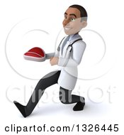 Clipart Of A 3d Young Black Male Nutritionist Doctor Speed Walking To The Left And Holding A Beef Steak Royalty Free Illustration