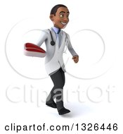 Clipart Of A 3d Young Black Male Nutritionist Doctor Walking To The Right And Holding A Beef Steak Royalty Free Illustration