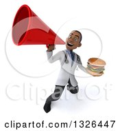 Clipart Of A 3d Young Black Male Nutritionist Doctor Holding A Double Cheeseburger And Announcing Upwards With A Megaphone Royalty Free Illustration