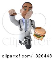 Clipart Of A 3d Young Black Male Nutritionist Doctor Flying And Holding A Double Cheeseburger Royalty Free Illustration