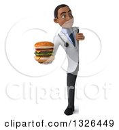 Clipart Of A 3d Full Length Young Black Male Nutritionist Doctor Holding A Double Cheeseburger And Looking Around A Sign Royalty Free Illustration