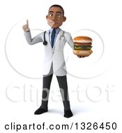 Clipart Of A 3d Young Black Male Nutritionist Doctor Holding Up A Finger And A Double Cheeseburger Royalty Free Illustration