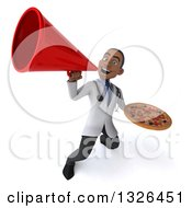 Clipart Of A 3d Young Black Male Nutritionist Doctor Holding A Pizza And Announcing Upwards With A Megaphone Royalty Free Illustration