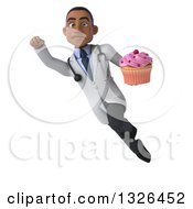 Clipart Of A 3d Young Black Male Nutritionist Doctor Flying And Holding A Pink Frosted Cupcake 2 Royalty Free Illustration