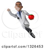 Clipart Of A 3d Young Black Male Nutritionist Doctor Holding A Tomato And Flying 2 Royalty Free Illustration