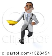 Clipart Of A 3d Young Black Male Nutritionist Doctor Sprinting And Holding A Banana Royalty Free Illustration