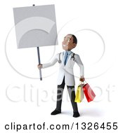 Clipart Of A 3d Young Black Male Doctor Holding Shopping Bags And A Blank Sign Royalty Free Illustration