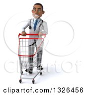 Clipart Of A 3d Young Black Male Doctor Walking With A Shopping Cart Royalty Free Illustration