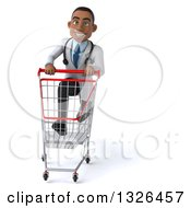 Clipart Of A 3d Young Black Male Doctor Sprinting With A Shopping Cart Royalty Free Illustration