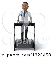 Clipart Of A 3d Young Black Male Doctor Walking On A Treadmill Royalty Free Illustration