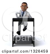 Clipart Of A 3d Young Black Male Doctor Sprinting On A Treadmill 2 Royalty Free Illustration
