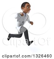 Clipart Of A 3d Young Black Male Doctor Sprinting To The Right And Holding An Envelope Royalty Free Illustration