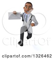 Clipart Of A 3d Young Black Male Doctor Sprinting And Holding An Envelope Royalty Free Illustration