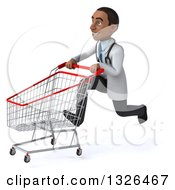Clipart Of A 3d Young Black Male Doctor Sprinting To The Left With A Shopping Cart Royalty Free Illustration