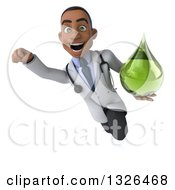 Clipart Of A 3d Young Black Male Naturopathic Doctor Flying And Holding A Green Medicine Or Tincture Drop Royalty Free Illustration