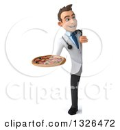 Clipart Of A 3d Full Length Young Brunette White Male Nutritionist Doctor Holding A Pizza And Looking Around A Sign Royalty Free Illustration