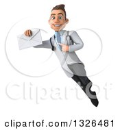 Clipart Of A 3d Young Brunette White Male Doctor Flying Holding And Pointing To An Envelope Royalty Free Illustration
