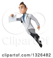 Clipart Of A 3d Young Brunette White Male Doctor Flying And Holding An Envelope Royalty Free Illustration